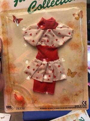 """Vintage NOS NIP """"Fancy Collection"""" 26641 Doll Clothes Outfit Set Hearts Dress"""