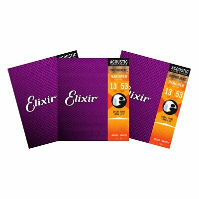 3 Sets Elixir 16182 Nanoweb Phosphor Bronze HD Light 13-53 Acoustic Strings