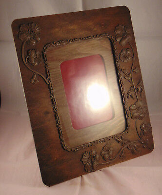 Antique Art Nouveau Carved Wooden Photo Frame Glazed with Mount