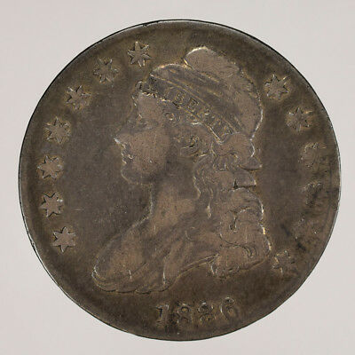 1836 50c CAPPED BUST HALF DOLLAR O-107 (SMALL LETTERS) -LETTERED EDGE - LOT#H104