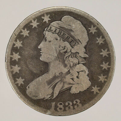 1833 50c CAPPED BUST HALF DOLLAR - LETTERED EDGE - LOT#H083