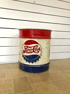 Vintage 1940's Large Pepsi Cola Double Dot 10 Gallon Metal Syrup Can Drum