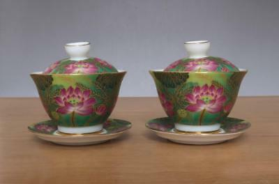 Two Yongzheng Signed Antique Chinese Famille Rose Porcelain Cup w/ Louts flower