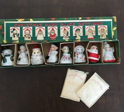 Vintage Ceramic Christmas Figurine Place Card Holders by Commodore in Box