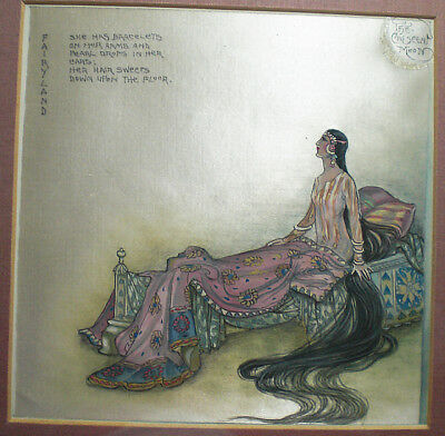 A water colour on silk, The crescent moon by R.Tagore, India c.1920  #2