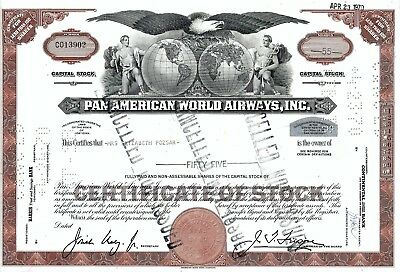 Pan American World Airways Inc., 1970 (55 Shares) Cancelled - not issued