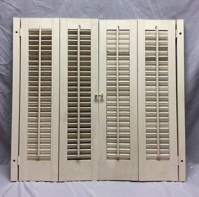 Vintage Pair Interior Louvered Bifold Window Shutters Wood 44-19C