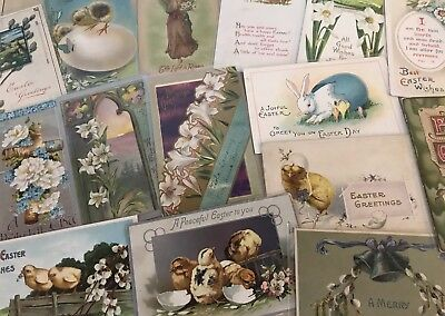 Nice Lot of 15 Vintage Easter Postcards-Antique~ In Sleeves-a597
