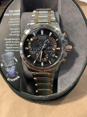 Citizen AT4109-54E Eco-Drive Men's 43mm Silver & Rose Tone Atomic Watch