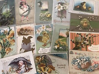 Nice Lot of 15 Vintage Easter Postcards-Antique~ In Sleeves-a598