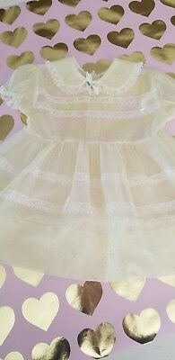 Vintage Toddler Girls Sheer Yellow Party dress Size 12-18 mths