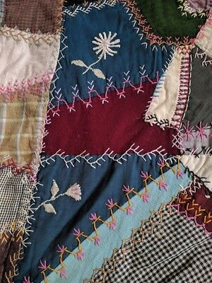 Embroidered Vintage Wool Crazy Antique Quilt
