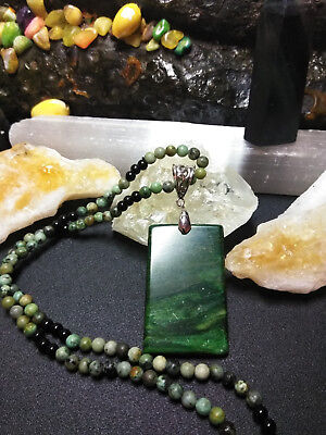 Natural Healing Green Jasper Pendant Necklace with Obsidian Handmade Valentines