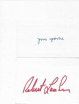 Lot of 2 authors signed index cards John Updike and Robert Ludlum