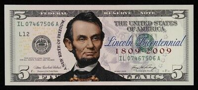 "USA: 2006 $5 ""COLORIZED"" Abraham Lincoln Bicentennial. UNC with Certificate"