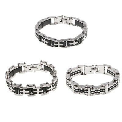 Men Jewelry Bracelets Black Silver Wristband Silicone and Stainless Steel