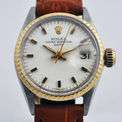 All Original Rolex Oyster Date Automatic Factory Dial Gold & Steel Ladies Watch