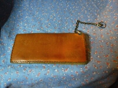 """b. Vintage Biker Type Leather Wallet Nice Used Condition 8 x 3 3/4""""  when Closed"""