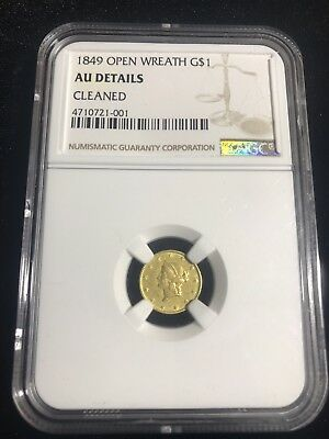 1849 Open Wreath $1.00 Liberty Head Gold Coin - Ngc Au Details