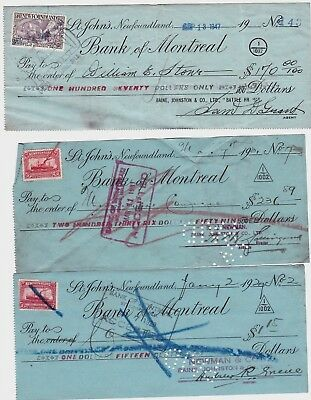 10 1929-1947 Bank Of Montreal,St.John's,Newfoundland Cancelled Cheques w/Stamps