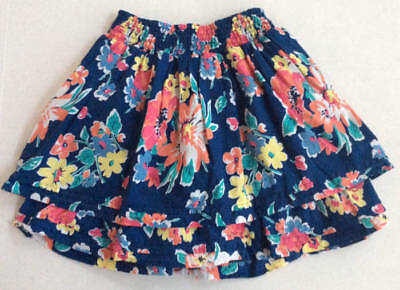 TCP The Childrens Place Girls Size 8 Blue Coral Aqua Floral Skirt Cotton GUC
