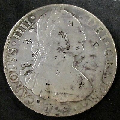 Colonial Mexican SILVER 8 reales Coin with CHINESE CHOP MARKS - 1791
