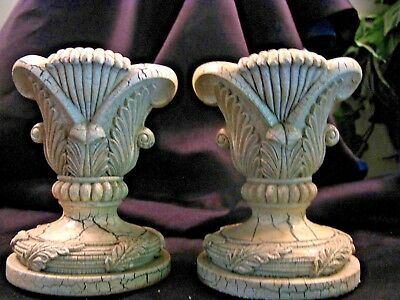 "Pair Of Distressed Shabby French Country Pillar Candle Holders  5"" Tall"