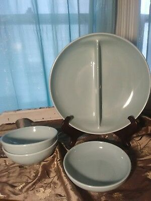 Russel Wright Iroquois Blue Casual Bowl lot 4 piece