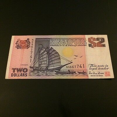 1990 SINGAPORE $2 Dollars Banknote World Money Currency Asia Bill