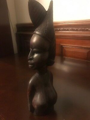 Vintage Wood African Sculpture Woman - Great Detail!
