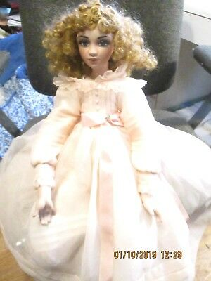 "Jan McLean 21"" Artist Porcelain Doll Alice Poseable Seated Doll #279 of 1000 Pcs"