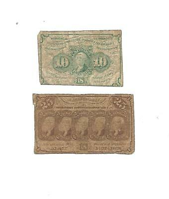 Set of  2  U.S. Fractional notes:  10 Cents + 25 Cents notes  1860s  VG+