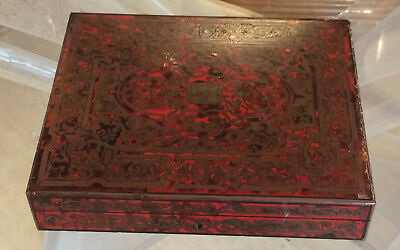 Antique French boulle box with brass inlay and cinnabar laquer Signed (AS IS)