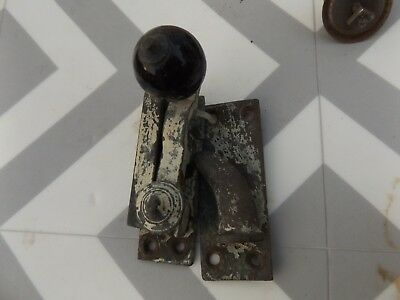 Vintage Solid Brass and china Sash Window Catch or Latch. Victorian Georgian