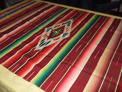 Vintage Wool Woven Serape Blanket Colorful & Tightly Woven