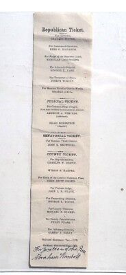 Antique 1879-81 CHARELS FOSTER Ohio REPUBLICAN Governor Election Ticket