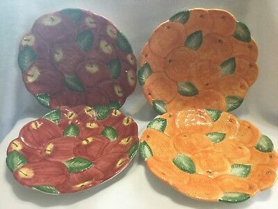 FITZ and FLOYD Orange and Apple Luncheon Plates-Set of 4-EUC
