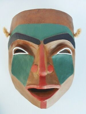 Vintage Northwest Bc Coast Native Indian Art Hand-Painted Wall Mask By J. Wolf