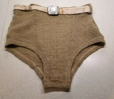 """Vintage 1930s Wool Belted Men's Swim Dive Trunks Army Green 30"""" waist WWII"""