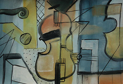 Very rare find, Cubist painting, Antique, unique oil, Still life with guitar