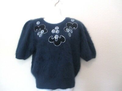 Vintage Blue Angora Sweater Embroidered Pearls pullover M/L