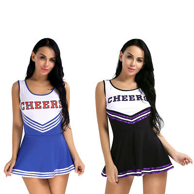 Damen Mädchen Cheerleader Uniform Karneval Fasching Halloween Minikleid Kostüm