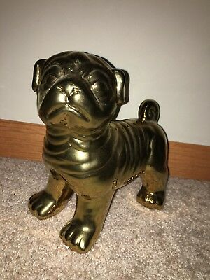 "Bulldog Puppy Dog Sitting Figurine Statue Resin Pet 8"" H Ornament New Wrinkles"