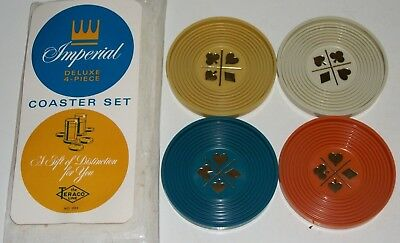 Vintage 1970 Pack Set of 4 IMPERIAL FOLEY Teraco Line CARD SUIT Coasters NEW