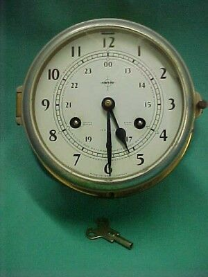 Vintage Swift Maritime Ships Bell 8 Day Clock West Germany with Key Parts Repair