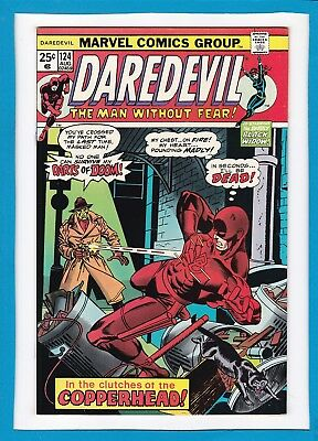 """Daredevil #124_August 1975_Nm Minus_""""in The Clutches Of Copperhead""""_Bronze Age!"""