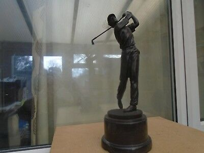 large Garanti Paris bronze golfer statue signed Milo with foundry mark WOW LOOK