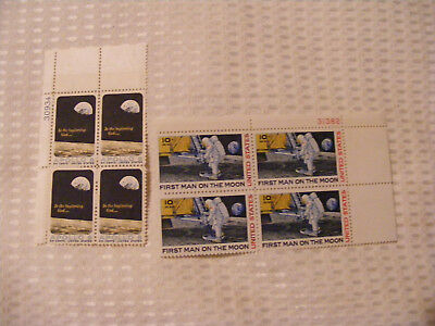 First Man On The Moon 10c Block Of 4  &  Apollo  8   6c  Block  Of 4 Mint Stamps