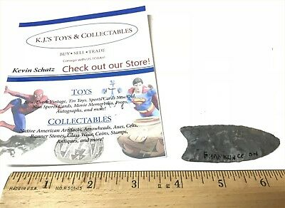 Clovis 2 5/8 inch Nellie Flint Ohio G8 Arrowhead Artifact W/COA Nice!
