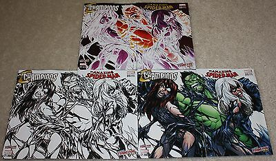 Amazing Spider-Man 19 Champions 1 Venom Black Cat Mary Jane Bundle Variant Set !